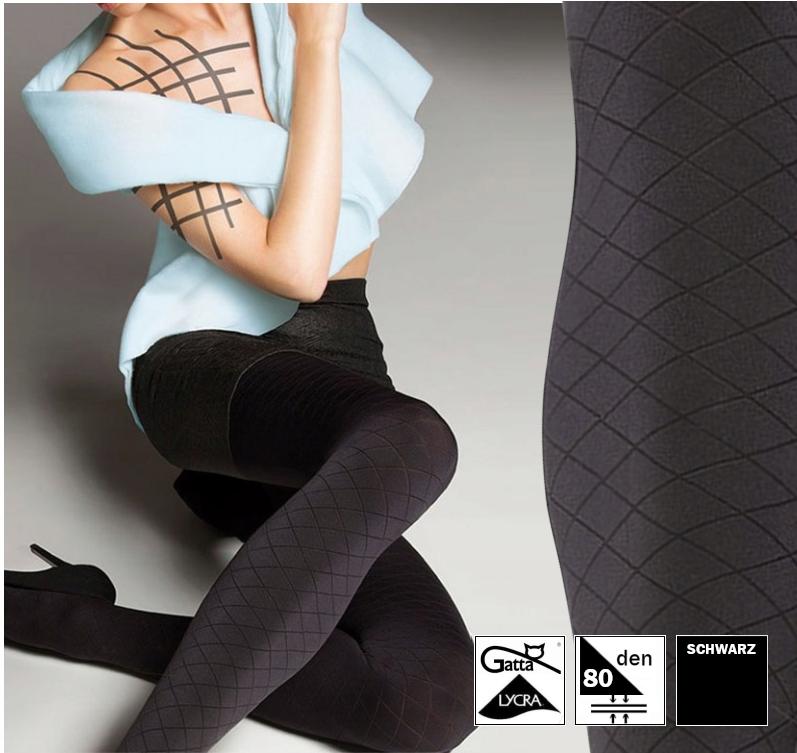 Gatta Vintage Leggings 01 blickdicht Muster Jeansoptik ausgefranzt blau Lycra